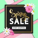 Frühlingsverkaufshintergrund mit Blumen Jahreszeitrabatt-Fahnendesign mit Gänseblümchen und Astern Stockfotos