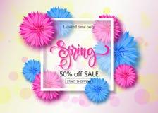 Frühlingsverkaufshintergrund mit Blumen Jahreszeitrabattfahne Vektorillustration, Schablone Tapete, Flieger Stockbild