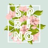 Frühlingsverkaufshintergrund mit schöner rosa Blume und Blatt Stockfotos