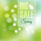 Frühlingsverkaufsplakat mit unscharfem Hintergrund,  Stockbild