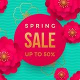 Frühlingsverkaufsplakat oder Netzfahnendesignschablone Vector Frühjahrblumen und goldenen Funkelntext für Rabatt Promo Stockbilder