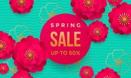 Frühlingsverkaufsshopplakat- oder Netzfahnenblumenmuster und goldener Text entwerfen Schablone für Frühjahrsaisondiskonter Stockfotografie
