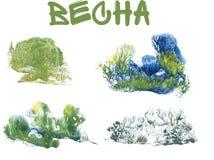 Frühlingswald, abstrakte Zeichnung auf weißem Hintergrund lizenzfreie abbildung