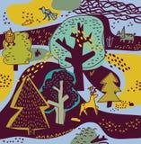 Frühlingswaldnaturlandschaft und -tiere Stockbild