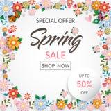 Frühlingszeit-Blumenverkaufsfahne und -hintergrund lizenzfreies stockbild