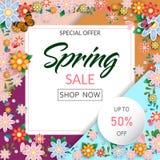 Frühlingszeit-Blumenverkaufsfahne und -hintergrund stockfotografie