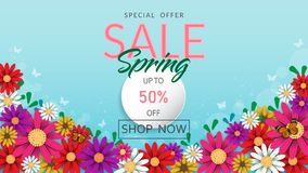 Frühlingszeit-Blumenverkaufsfahne und -hintergrund lizenzfreies stockfoto