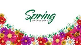Frühlingszeit-Blumenverkaufsfahne und -hintergrund lizenzfreie stockbilder
