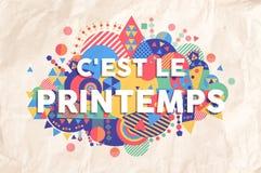 Frühlingszeit-Jahreszeittextzitat in der französischen Sprache lizenzfreie abbildung