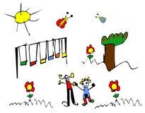 Frühlingszeit Kindzeichnung Stockfotos