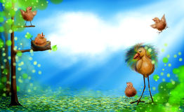 Frühlingszeit mit Vogelbabys Stockfotografie