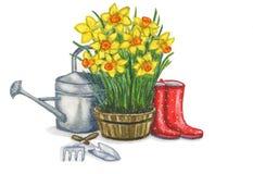 Frühlingszusammensetzung, welche die Gartenarbeitarbeiten veranschaulicht stock abbildung