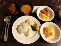 Frühstück der japanischen Art eingestellt in Hokkaido Stockbild