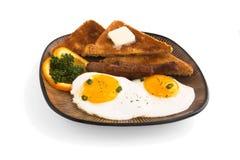 Frühstück, Eier Toast und Wurst Stockbilder