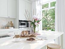 Frühstück in einem netten Kücheninnenraum frühjahr Wiedergabe 3d Stockbild