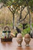 Frühstück gegründet in einem Bauernhof Stockfotos
