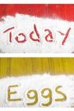 Frühstück - heute und Eier unterzeichnen herein Mehl stock abbildung