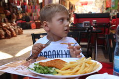 Frühstück im alten Stadtmarkt in Jerusalem Lizenzfreies Stockbild
