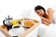 Frühstück im Bettservice Stockbilder