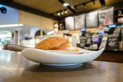 Frühstück im Kaffee Stockfotografie