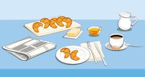 Frühstück mit Morgen ` s Nachrichten Stockfotografie