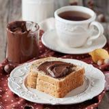 Frühstück mit nutella Stockbild
