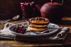 Frühstück mit Quark Pancakes Stockbild