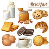 Frühstück 3 Satz Karikaturvektor-Lebensmittelikonen auf weißem Hintergrund Stockfoto
