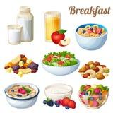 Frühstück 2 Satz Karikaturvektor-Lebensmittelikonen lokalisiert auf weißem Hintergrund Lizenzfreies Stockbild