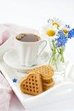 Frühstück stellte mit Waffeln ein Lizenzfreie Stockfotografie