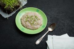 Frühstück vom Hafermehlbrei und microgreen ist eine Gebühr von Energie, von Entgiftung und von Gewichtsverlust lizenzfreie stockfotos