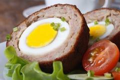 Frühstück von den Eiern schottisch und von Gemüsesalatmakro Stockfotos