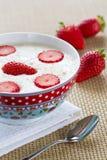 Frühstückbrei mit Erdbeeren Lizenzfreie Stockfotos