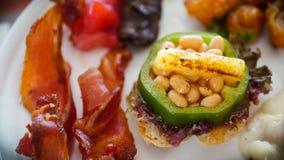 Frühstücks-Buffet-Platten-Detail stockfoto