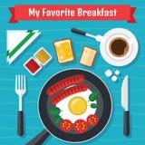 Frühstücks-Illustration mit neuem Lebensmittel in einem flachen Design Stockfotos