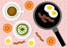 Frühstücks-Karikatur-Illustration Lizenzfreies Stockfoto