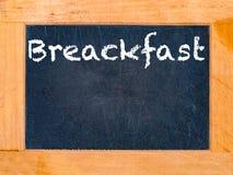 Frühstücks-Kreide-Brett Stockfoto