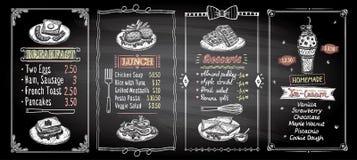 Frühstücks-, Mittagessen-, Nachtisch- und Eiscremetafelmenü-Listendesigne stellen ein, übergeben gezogene grafische Illustration lizenzfreie abbildung