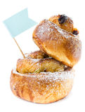 Frühstücks-Zimtbrötchen mit Rosinen Stockbilder