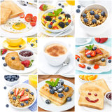 Frühstückscollage von neun Fotos Stockfoto