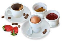 Frühstückskaffee, Ei, Stau Vektor realistisch 3d führte Menüschablone einzeln auf Erdbeermarmeladenaroma Köstliche Nachtische stock abbildung