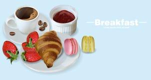Frühstückskaffee, Hörnchen und Makronen Vektor realistisch Menüschablone der Einzelkarte 3d Erdbeermarmeladenaroma stock abbildung