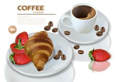 Frühstückskaffee und -hörnchen Vektor realistisch Menüschablone der Einzelkarte 3d Erdbeermarmeladenaroma köstlich stock abbildung