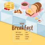 Frühstückskarikaturschablone mit Pfannkuchen, Toast, Plätzchen und heißem Kaffee Lizenzfreie Stockbilder