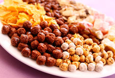 Frühstückskost aus Getreide auf einer Platte Stockfotografie