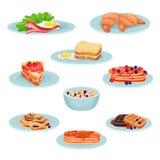 Frühstücksmenü-Lebensmittelsatz, acon, Spiegeleier, Hörnchen, Sandwich, Pfannkuchen, muesli, Oblaten vector Illustration auf eine Stockfotos