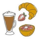 Frühstücksnahrungsmittelvektorsatz Stockfotos