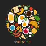 Frühstücksnahrungssammlung auf einem dunklen Hintergrund, flache Art Stock Abbildung