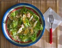 Frühstücksplatte mit blauem weißem Rot der Kanten füllte mit einem Salat Lizenzfreies Stockbild
