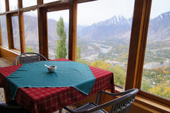 Frühstückszeit im Herbst, Nord-Pakistan stockbilder